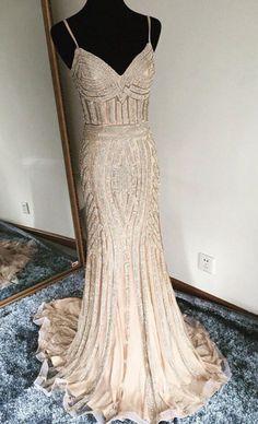 Luxurious Mermaid Spaghetti Straps Champagne Long Prom Dress