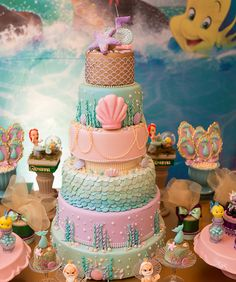 Ideas For Birthday Cake Disney Princess Little Mermaids Mermaid Birthday Decorations, Mermaid Theme Birthday, Little Mermaid Birthday, Little Mermaid Parties, The Little Mermaid, Birthday Goals, 4th Birthday Cakes, 1st Birthday Girls, Sirenita Cake