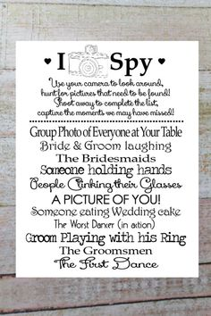Trendy Wedding Reception Activities For Kids I Spy 41 Ideas Wedding With Kids, Trendy Wedding, Diy Wedding, Wedding Photos, Dream Wedding, Wedding Day, Table Wedding, Wedding Games For Kids, Wedding Book