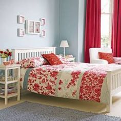 My Favourite Colour Combination Is Pale Blue White And Red This Room Just