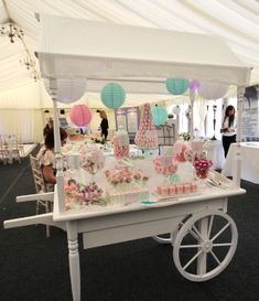 TABLE SETUP: Candy Cart   Made From Table With Handles And Wheels On Front (