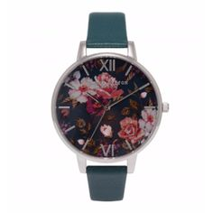 Teal And Silver Winter Garden Big Dial Watch (105 CAD) ❤ liked on Polyvore featuring jewelry, watches, olivia burton watches, teal jewelry, silver wrist watch, silver jewellery and teal watches