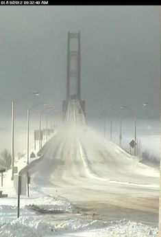 This photo was shot the morning of Jan. 19 by the Mackinac Bridge Authority webcam, as winter descended upon the Mackinac Bridge.