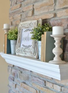 What I Like: A chippy farmhouse sign, some pastel books, wooden candle holders
