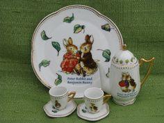 Peter Rabbit & Benjamin Bunny doll size porcelain tea set for Easter