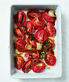 Slow-Roasted Plum Tomatoes with Garlic and Oregano ~ serve on toasted baguette slices with a smear of ricotta and a drizzle of olive oil