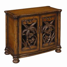 The Furniture Warehouse - Coast To Coast Two Door Cabinet W/ Hand Carved Palm Trees