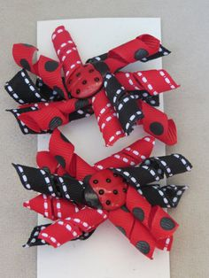 Ladybug Red and Black Pigtail Korker Bows by IttyBittyBoutique1, $6.50