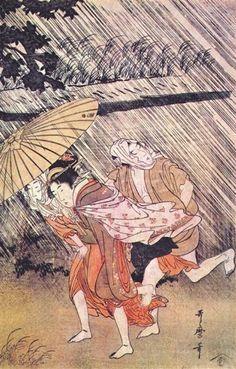 Public domain ← → Shower Kitagawa Utamaro Style: Ukiyo-e Series: Shower Genre: genre painting Tags: group-portraits, rain-and-fog