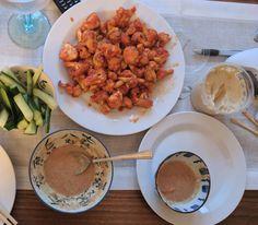 Last night's dinner - Sriracha cauliflower peanut sauce & cucumber crudités (Thug Kitchen recipe). Super delicious