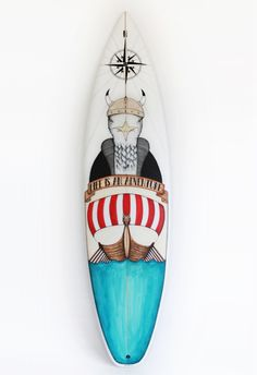 The 'Viking Seagull' surfboard, collaboration between Basque country based artist Daniela Garreton, Rip Curl and Posca. Surfboard Painting, Surfboard Art, Skateboard Design, Skateboard Art, Sup Stand Up Paddle, Skate Art, Kiwiana, Posca, Surf Art