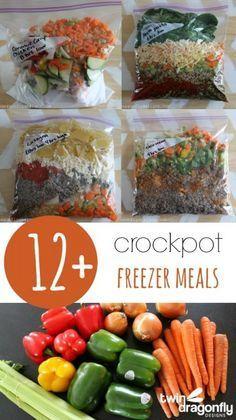 12+ Crockpot Freezer Meals with printable recipes!