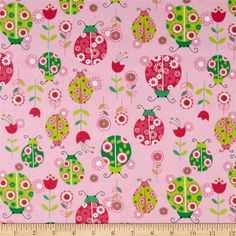 Lollipops Flannel Ladybugs Pink from @fabricdotcom  This double napped (brushed on both sides) flannel is perfect for quilting and apparel. Colors include shades of  pink, green, white, and black.