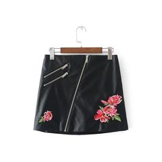 c2d32f045e2 Buy Women Elegant Floral Embroidery Rivet PU Leather Skirts Zipper Ladies  Summer Streetwear and other Skirts