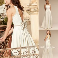 2017 Summer Satin Wedding Dresses Halter A Line Bridal Gowns Custom White Ivory   Clothing, Shoes & Accessories, Wedding & Formal Occasion, Wedding Dresses   eBay!