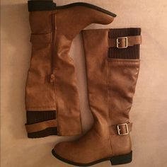 Tan Riding Boots Wild Diva Lounge Women's Size 6. Brand New Never Worn. Knit shaft lining for warmth. Perfect for cold weather!! Wild Diva Shoes Winter & Rain Boots