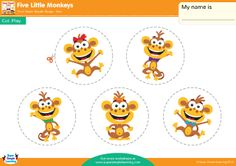 The Five Little Monkeys are jumping on the bed again! Practice counting down with this Play Set from Super Simple Learning.