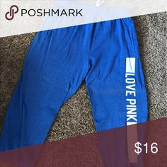 XS Victoria's Secret Blue Sweatpants Love Pink Like new. Smoke-free home. 🚭 same day shipping! 📦 see all my other listings & positive feedback! 🎀 Have a great day! ❤️ PINK Victoria's Secret Pants Capris