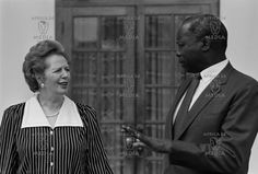 British Premier Margaret Thatcher with Kenyan President Daniel arap Moi outside State House Nairobi on her state visit to Kenya on January 1988.