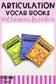 Free Halloween Articulation Vocabulary Books! These books are perfect for October speech therapy sessions! They're great for mixed groups too, as language students can work on describing, categorization, and comparing/contrasting!