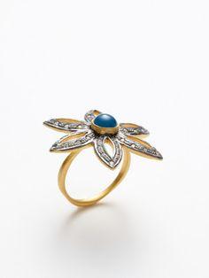 BLUE TOPAZ & CZ FLOWER RING