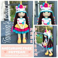 Welcome to our website where you can find the most beautiful and highest quality samples of Amigurumi patterns. Doll Amigurumi Free Pattern, Crochet Dolls Free Patterns, Doll Patterns, Crochet Toys, Free Crochet, Crochet Animals, Crochet Projects, Craft Projects, Crochet Dinosaur