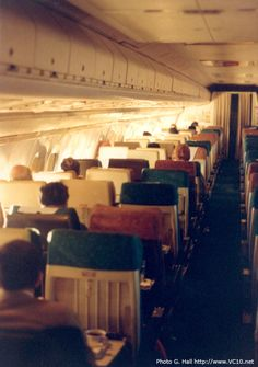 The Economy class cabin of a British Airways ('BA') Vickers Super VC10 (Series 1150) between New York's JFK airport and London's Heathrow Airport (LHR), during a positioning flight in December 1978.