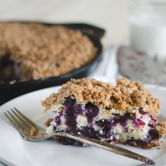 Blueberry Buckle- equally appropriate as a coffee cake for breakfast and topped with ice cream for dessert.