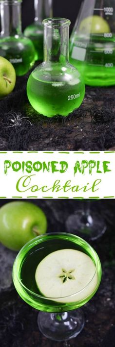 Channel your inner witch this Halloween and serve a delicious Poisoned Apple Cocktail to your guests! Halloween Cocktails, Halloween Food For Party, Holiday Drinks, Halloween Treats, Halloween Costumes, Creepy Halloween, Halloween Stuff, Halloween Halloween, Halloween Makeup