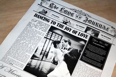 Paper Anniversary Gift Idea - One year of love stories, letters, lyrics and photos Preserved on paper and created as a surprise First Wedding Anniversary gift and newspaper keepsake  #Newspaper #FirstWeddingAnniversary #PaperAnniversaryGift