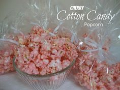 Cotton Candy Popcorn - Tastes just like cotton Candy from the fair and so fast and easy to make cups popped popcorn 2 cups sugar cups whole milk 2 tablespoons light corn syrup teaspoon salt 1 teaspoon cherry flavoring red or pink food coloring Best Popcorn, Popcorn Snacks, Candy Popcorn, Flavored Popcorn, Popcorn Recipes, Snack Recipes, Cooking Recipes, Pink Popcorn, Gourmet Popcorn