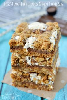 Reese's Peanut Butter S'mores Oatmeal Cookie Bars - Mom On Timeout