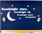 Kids Room Wall Decal Goodnight Moon Quote Nursery Decor Home Decor