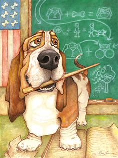 Items similar to Professor Hound (Basset Hound Professor Fine Art Print) on Etsy Hound Puppies, Basset Hound Puppy, Hound Dog, Cute Puppies, Cute Dogs, Dogs And Puppies, Beagle Puppies, Dog Illustration, Illustrations