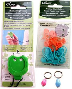 Clover KachaKacha Mini Knitting Counter with neck cord and Clover Locking Stitch Markers Combo KitHandmade Pair of Trendy Stitch Markers Included * Want additional info? Click on the image.