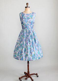Vintage 1950s Blue and Purple Floral Silk Dress  $118.00