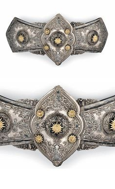 Turkey | Ottoman parcel gilt and nielloed silver belt buckle | ca. Late 19th century | Est. 1'000 - 1'500£ ~ (Nov '13)