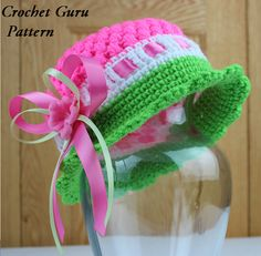 Crochet Hat Pattern - Cloche Hat - 5 Sizes - Baby to Adult - PDF Format via Etsy