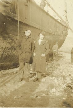 Howard E Willis and unknown woman, possibly in Bremerton, WA circa 1924-1925, or 1926-1927 during his Merchant Marine time in New York City Harbor area when he was aboard the SS Finland (and travelled to Holland) or aboard the USLHT Tulip and worked the Harbor's lighthouses and lightships.