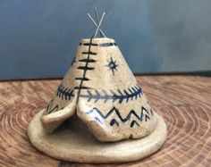 Incense Burner TeePee that smokes Ceramic Navy di HicklinHomestead