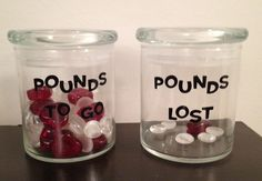 My own motivational weight loss jars. The red ones are hearts and I'm going to put one in the jar for every 5 pounds lost! vivalakarly