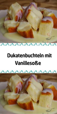 Ducat bushes with vanilla sauce- Dukatenbuchteln mit Vanillesoße A recipe from Austrian and Bohemian cuisine. It is a sweet main course which is especially popular with children. From time to time you have to treat yourself to such a delicious dessert. Delicious Desserts, Dessert Recipes, Great Recipes, Healthy Recipes, Vanilla Sauce, Meal Prep For The Week, Confectionery, Custard, Tasty Dishes