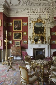 The remodelling of Felbrigg Hall took place between about 1749 and 1755, created a sequence of fashionable rococo interiors cleverly integrated into a much older house. The Cabinet at Felbrigg, designed to contain William Windham II's Grand Tour pictures. ©National Trust Images/John Hammond