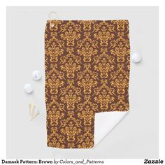 Damask Pattern: Brown Golf Towel Create Your Own, Create Yourself, Golf Towels, Golf Accessories, Golf Shoes, Golf Ball, Damask, Golf Clubs, Brown
