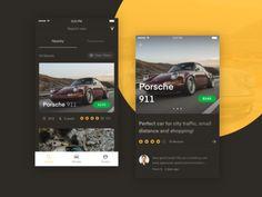 iOS app for renting & sharing cars    app  brown  car  dark  ios  luxury  mobile  porsche  ui  ux