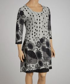 Love this Gray Floral Dress - Plus by Reborn Collection on #zulily! #zulilyfinds