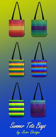Summer / Beach Tote Bags by Scar Design. #summer #beach #summerbag #beachbag #totebag #summergifts #summer2017 #giftsforher #style #fashion #fashion&accessories  #colorful #design #linesdesign  #scardesign #society6