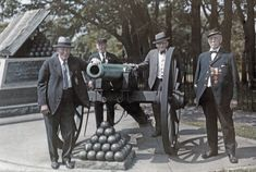 July 12, 1931 - Gettysburg National Military Park, Gettysburg, Pennsylvania - Veterans of the Civil War pose at High Water Mark Memorial.