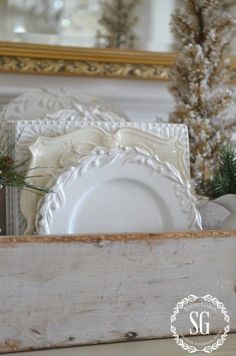 BON NOEL- HOW TO CREATE FRENCH CHRISTMAS DECOR-dishes in tool caddy-stonegableblog.com