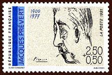 Jacques Prévert 1900-1977 - Timbre de 1991
